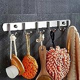 Ecooe Hakenleiste mit 6 Haken Edelstahl Rostfrei Garderobenhaken kleiderhaken Edelstahl für Badezimmer und Küche Kleidung und Schlüssel