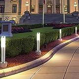 4er Set Außen Steh EDELSTAHL Stand Sockel-Leuchte Lampe Garten Weg Hof Veranda Beleuchtung