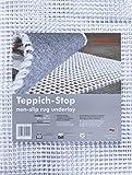 Teppich-Stop Antirutschmatte Teppichgleitschutz Teppichunterlage Haftgitter Rutschschutz, PVC beschichtetes Polyester, rutschhemmend zuschneidbar pflegeleicht strapazierfähig, weiß, 120 x 180 cm