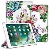 Fintie Hülle für iPad 9.7 Zoll 2018 2017 / iPad Air 2 (2014) / iPad Air (2013) - Ultradünn Schutzhülle mit transparenter Rückseite Abdeckung Cover mit Auto Schlaf/Wach Funktion, Blumengarten