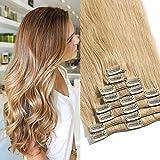 TESS Clip in Extensions Echthaar Haarteile Haarverlängerung Standard Weft Grad 7A Lang Glatt guenstig Remy Human Hair 8 Tressen 18 Clips 33cm-80g(#27 Dunkelblond)