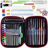 Anpro Häkelnadel Set mit 100 pcs Stricknadeln Zubehöre und Tasche in verschiedenen Größen, Bunt, EINWEG