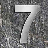 qoboob® Edelstahl Hausnummern 7 Sieben Straße Nummer Fein gebürstet Silber 200mm (1 Stück)