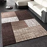 Paco Home Designer Teppich Modern Kariert Kurzflor Teppich Design Meliert In Braun Creme, Grösse:200x290 cm