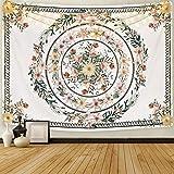 Sunm Boutique Mandala Wandteppich Tapisserie Blumenmedaillon Tapisserie Skizziert Blumenpflanze Wandbehang Böhmische Hippie Wandtuch für Zimmer(130X150cm)