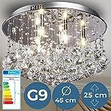Kristall Deckenleuchte - EEK: A++ bis E, Ø45cm, 6xG9, Rund, Modern, Silber - Kronleuchter, Deckenlampe, Deckenstrahler, Kristallbehang, Kristallkronleuchter - für Wohnzimmer, Esszimmer, Schlafzimmer