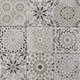 Casa Moro Marokkanische Patchwork Fliesen Arabesque 18,7x18,7 cm 1 qm aus Feinsteinzeug frostsicher | Vintage Bodenfliesen Retro Fiesen für schöne Küche Bad Flur & Küchenrückwand | FL2034