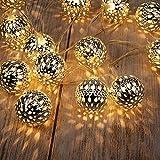 GIGALUMI LED Kugel Lichterkette 20 Silber Metall Kugel 2,5m Lange Warmweiß Batteriebetrieben Innen Beleuchtung Dekoration für Party, Weihnachten, Halloween, Zimmer usw.