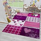 SANAT Teppich Kinderzimmer - Lila/Rosa Kinderteppich für Mädchen und Jungen Öko-Tex 100 Zertifiziert, Größe: 120x170cm