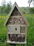 Elna Insektenhotel Insektenhaus Bienen Insekten Handarbeit Nistkasten fertig bestückt 56x35x10cm Natur