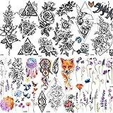 COKTAK 6 BläTter GroßE 3d Blume Rose TemporäRe Tattoos Aufkleber FüR Frauen MäDchen Muster Sexy Body Art GroßEn Arm Tattoo Papier Lavendel Schwarz Geometrische Erwachsene TäTowierung SüßE Erbse Flora