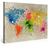 PICANOVA Weltkarte Aquarell Explosion 100x75cm – Premium Leinwanddruck – Kunstdruck Auf 2cm Holz-Keilrahmen Für Schlaf-Und Wohnzimmer Druck Auf Leinwand, mehrfarbig
