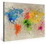 Gallery of Innovative Art Premium Leinwanddruck 100x75cm – Weltkarte Aquarell Explosion – Kunstdruck auf Leinwand auf 2 cm Holz-Keilrahmen für Schlaf- Und Wohnzimmer