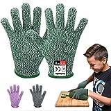 Reinalin Schnittschutzhandschuhe für Kinder, Küchenhandschuhe mit Hoher Schnittschutz der Leistungsstufe 5 für 8-12 Jährige,Lebensmittelkontaktqualität (XS, Grün)