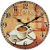 PD Perla Design, orologio da parete in vetro, movimento al quarzo, design vintage, circa 30 cm di diametro., Vetro, espresso