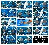 Set AG0-AG13 14 Blistercard a 2 Batterien je AG 0,1,2,3,4,5,6,7,8,9,10,11,12,13 ; (A) EINWEG Eunicell