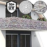 Deuba Windschutz 5m   UV-Schutz 50+   wasserabweisend   Sichtschutz Balkonbespannung Balkonsichtschutz   einfache Montage   waschbar   500cm x 90 cm Steinoptik