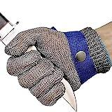 OKAWADACH Schnittschutz Handschuhe,Edelstahl-Metal Mesh Metzgerhandschuh mit,Schutzgrad 5(M) (M)