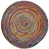 Fair Trade rund Multi Farbe Baumwolle/Jute geflochten Teppich recycelten Materialien, Textil, Mehrfarbig, 90cm Diameter