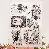 ECMQS Fairy Flower DIY Transparente Briefmarke, Silikon Stempel Set, Clear Stamps, Schneiden Schablonen, Bastelei Scrapbooking-Werkzeug