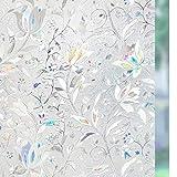 rabbitgoo 3D Statisch Selbsthaftend Fensterfolie Blickdicht Sichtschutzfolie Fenster Milchglasfolie Folie Glasfolie Selbstklebend Dekofolie UV Schutz Blumen 90 x 200 cm, New Version