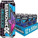 Rockstar XD Power Berry Blast – Koffeinhaltiges Erfrischungsgetränk mit 1000mg BCAA Aminos für den Energie Kick – 12 x 0,5l
