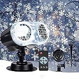 VIFLYKOO LED Projektionslampe,LED Schneeflocke Doppelkopf Projektorlampe IP65 Wasserdicht Snowflake Projektor Schneefall Lichter Effekt mit Fernbedienung Dekoration für Weihnachten, Party, Hochzeit