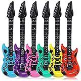 Schramm 24 Stück Luftgitarren Bunt 100cm in 6 Farben Luft Gitarre Air Guitar aufblasbar 24er Pack