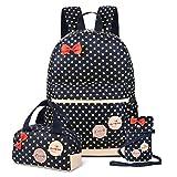 Vbiger Mädchen Schulrucksack Kinder Daypack Mädchen Backpack für Schule und Freizeit 3-In-1 Schulrucksack, Dunkel Blau
