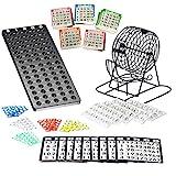 Bingo Spiel Set mit Bingotrommel aus Metall | 75 Kugeln | 500 Bingokarten | 150 Bingochips | Ergebnisbrett