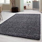 Hochflor Shaggy Teppich für Wohnzimmer Langflor Pflegeleicht Schadsstof geprüft 3 cm Florhöhe Oeko Tex Standarts Teppich, Maße:140x200 cm, Farbe:Grau