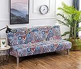 Cornasee Sofabezug 3 sitzer ohne armlehne - Clic Clac Sofahusse Stretch Bettcouch Schonbezug Blumendruck,M