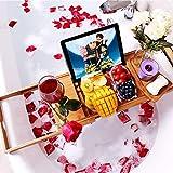 VPCOK Badewannen ablagen verstellbare Bambus Badewanne Tablett, Badewanneneinsatz, Badetisch für Tablett, Smartphone, Buchrahmen, Weinglashalter, präsentierbares Geschenk (MEHRWEG)