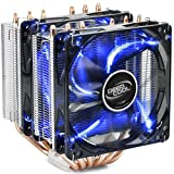 DEEP COOL NEPTWIN V2, CPU Kühler, Prozessorlüfter für Intel und AMD CPUs, 6 Heatpipes, Dual-Tower, 2 x 120mm Lüfters, Blau LED