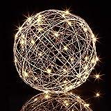 Relaxdays LED Dekokugel, batteriebetrieben, zum Hinhängen & Hinstellen, extra langes Kabel, Leuchtkugel, Ø 20 cm, Silber, Eisen, 1 Stück