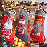 Ansody Weihnachtsstrumpf, 3er Set 18.7' großer Nikolausstrumpf Weihnachtssocken Deko Santa Snowman Reindeer Christmas Stockings zum Deko Befüllen und Aufhängen