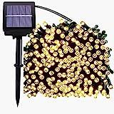 LED Solar Lichterkette,200er 22m 8 Modes Garten Außen Licht Warmweiß Weihnachten Deko Wasserdicht Beleuchtung für Garten,Outdoor,Party,Garten,Fenster,Haus,Hochzeit,Feier Festakt(Warmweiß)