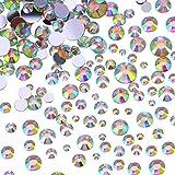 Flatback Strasssteine Runde Kristall Flache Rücken Edelsteine, 4 Mix Größen, 800 Stück