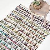 Homescapes Teppich/Bettvorleger, handgewebt aus 100% Baumwolle, 90 x 150 cm, Flickenteppich mit geometrischem Dreiecksmuster, bunt