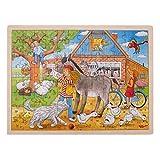 Goki 57742 Einlegepuzzle 'Peggy auf dem Bauernhof' aus Holz, 96-teilig
