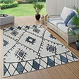 Paco Home In- & Outdoor Teppich Flachgewebe Geometrisch Abstrakt Rauten Design Ethno Blau, Grösse:160x220 cm