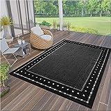 VIMODA Robuster Flachgewebe Teppich In- und Outdoor Tauglich 100% Polypropylen, Farbe:Schwarz, Maße:140x200 cm