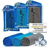Fit-Flip Kühltuch 3er Set 100x30cm, Mikrofaser Sporthandtuch kühlend, Kühltuch, Cooling Towel, Mikrofaser Handtuch – Farbe: dunkel blau-grün/grau-blau/blau-dunkel blau, Größe: 100x30cm