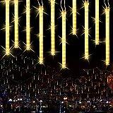 Joomer Fallenden Regenlichter Meteor Dusche Lichter, 11.8 inch 10 Tube 240 LEDs Fallenregende Regen Tropfen Eiszapfen Lichterketten Für Weihnachtsbäume Halloween Dekoration Urlaub Hochzeit(Warmweiß)