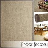 floor factory Sisal Teppich Taupe grau 130x190 cm 100% Naturfaser mit Leinenbordüre
