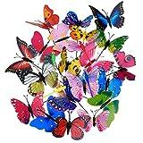 20 Stück Garten Schmetterlinge Stangen und 4 Stück Libellen Stangen Garten Ornamente für Hof Patio Party Dekorationen, Insgesamt 24 Stück (Normal)