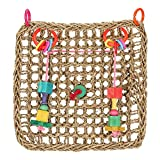 Fdit Papageien-Kletternetz aus Seegras, gewebt, Mehrzweck-Haken zum Aufhängen von Vögeln und Kauen