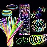 Knicklichter 100 Stücke, Neon-Leuchtstäbe, Festival Party Ausrüstung, Glowing Sticks , 5 Farben