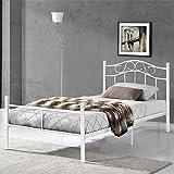 [en.casa] Metallbett 90x200 weiß Bettgestell Bett Jugendbett Metall