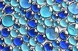 350 g blaue Glassteine, gemischt in 3 verschiedenen Größen 12–15 mm, 17–21 mm und 26–33 mm, ca. 81 Stück